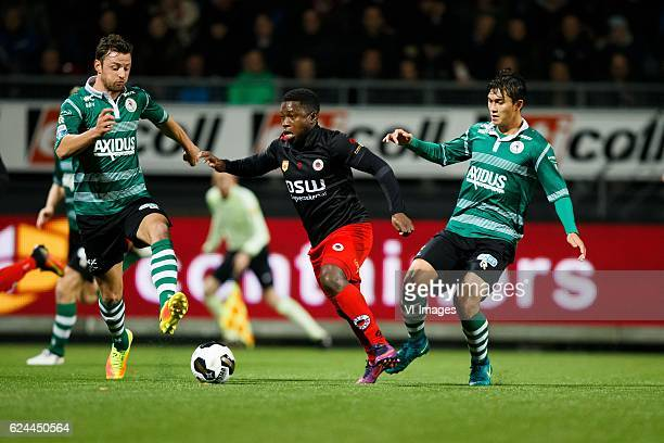 Bart Vriends of Sparta Rotterdam Nigel Hasselbaink of Excelsior Kenneth Dougall of Sparta Rotterdamduring the Dutch Eredivisie match between sbv...