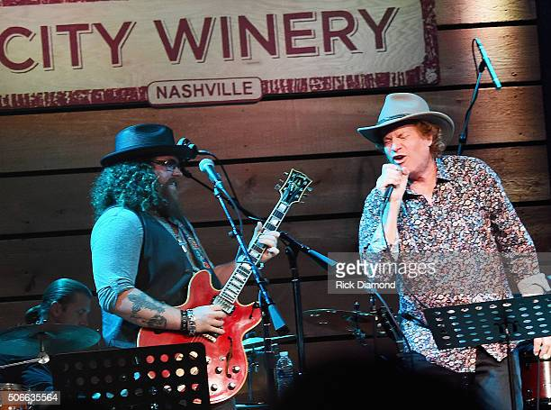 Bart Walker and Jimmy Hall perform during Duane Allman Tribute at City Winery Nashville on January 23 2016 in Nashville United States