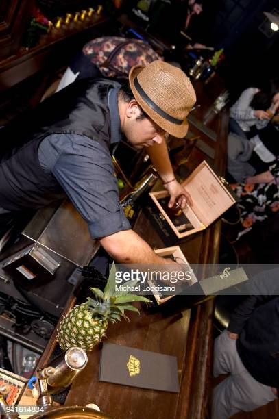 A bartender makes drinks at an immersive theatrical experience 'Amparo' presented by HAVANA CLUB Rum on April 3 2018 in New York City