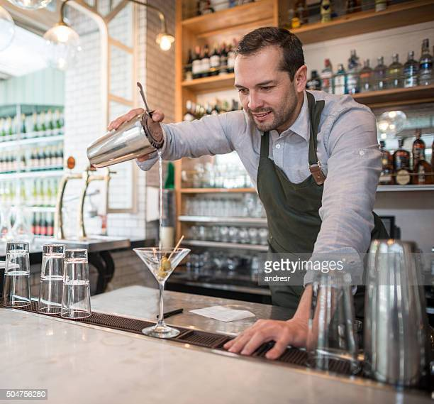 Bartender making a martini