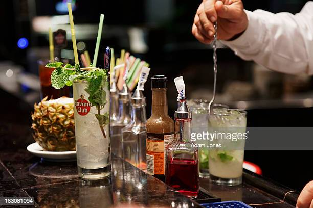 Bartender making Mojito drinks