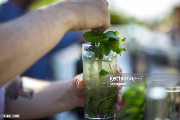 bartender mixing cocktail garnished with mint - tonic water stock pictures, royalty-free photos & images