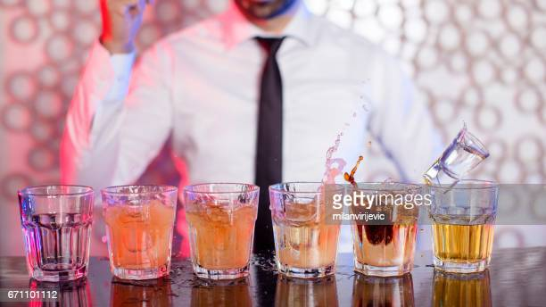 Bartender preparing cocktails