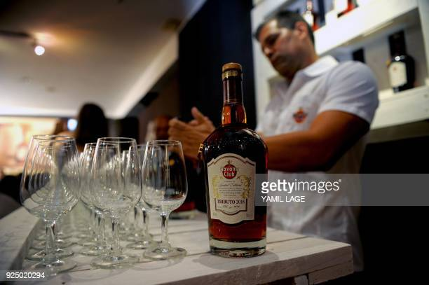 A bartender serves drinks during the launching of the new edition of the Havana Club Tribute Collection Tribute 2018 the first Cuban luxury rum in...