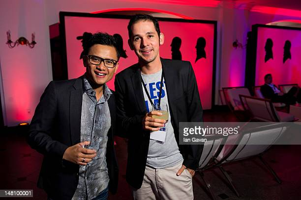 Bartenders Harli Garnawan representing Indonesia and Adrian Vega representing Costa Rica attend the Ketel One House at Villa Riso during the Diageo...