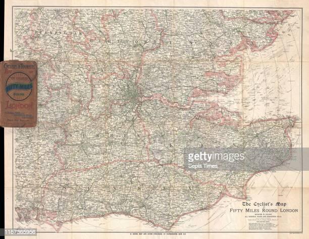1895 Barthholomew Cyclist's Map of 50 Miles Around London England