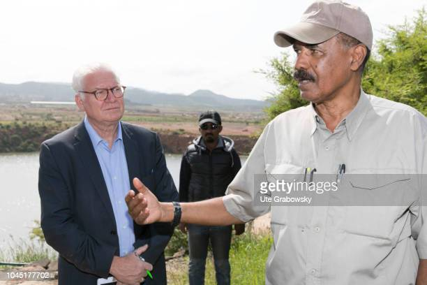 Bartholomaeus Grill journalist and Isaias Afewerki president of Eritrea in an interview on August 24 2018 in Asmara Eritrea