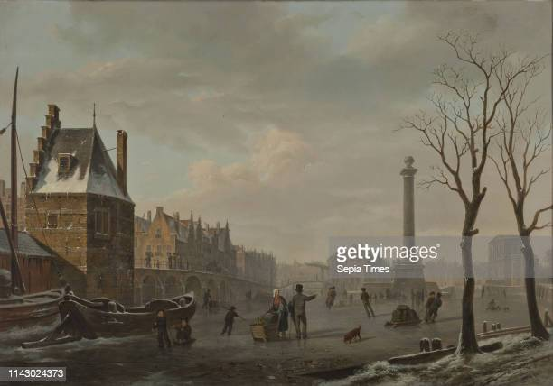 Bartholomeus J van Hove Pompenburg with Hofpoort in winter cityscape painting painting material wood oil Painting landscape format Goldplated...