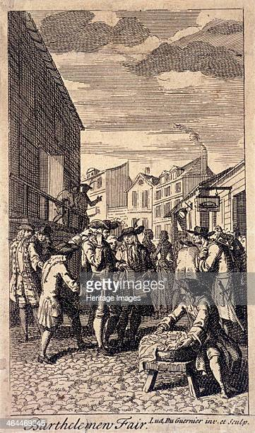 Bartholomew Fair London c1715 In the middle distance a man stands behind another man and distracts him by tickling his ear thereby allowing him to...