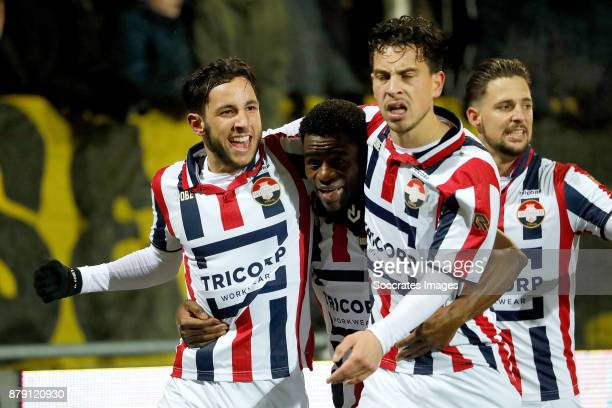 Bartholomew Ogbeche of Willem II celebrates 33 with Ismail Azzaoui of Willem II Thom Haye of Willem II Fran Sol of Willem II during the Dutch...