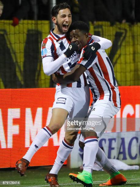 Bartholomew Ogbeche of Willem II celebrates 33 with Ismail Azzaoui of Willem II during the Dutch Eredivisie match between VVVvVenlo Willem II at the...
