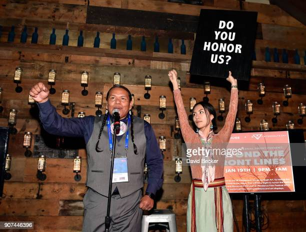 Bartholomew Powaukee and Denae Shanidiin attend Steelhouse and Eternal Front presents Beyond the Front Lines event during the 2018 Sundance Film...