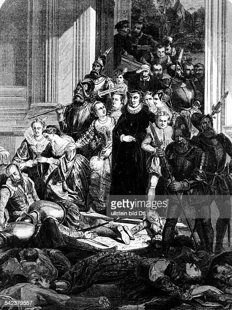 Bartholomäusnacht 1572m: katharina von Medici und ihrSohn Karl IX..Gem.von Joseph Hornung