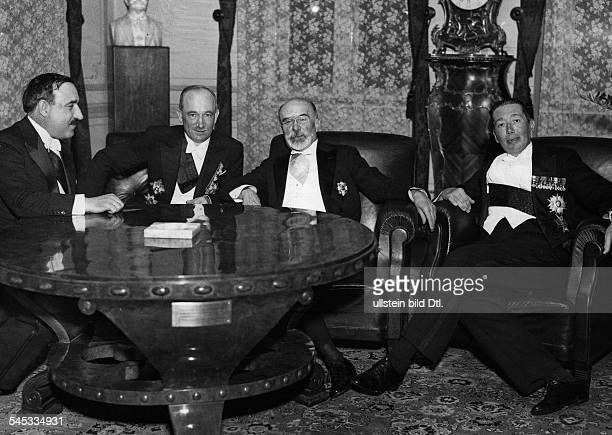 Barthou Louis Politician France Conference of the Little Entente in Bucharest from left Foreign Ministers Bogoljub Jevtic Edvard Benes Barthou and...
