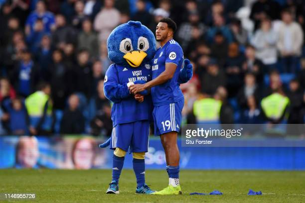 Bartley Bluebird Cardiff City Mascot and Nathaniel MendezLaing of Cardiff City look dejected as their team are relegated following the result in the...