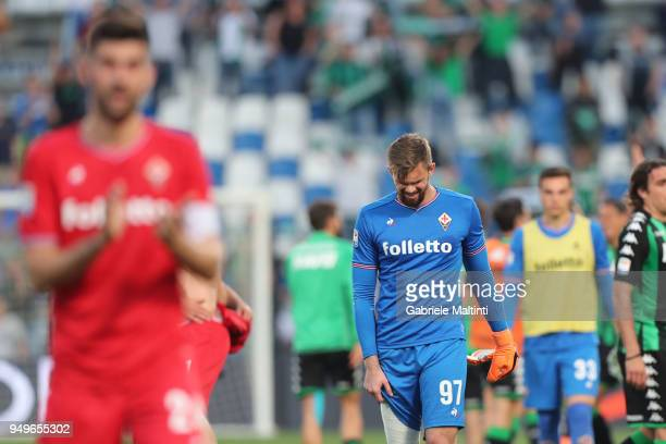 Bartlomiej Dragoski of ACF Fiorentina shows his dejection during the serie A match between US Sassuolo and ACF Fiorentina at Mapei Stadium Citta' del...