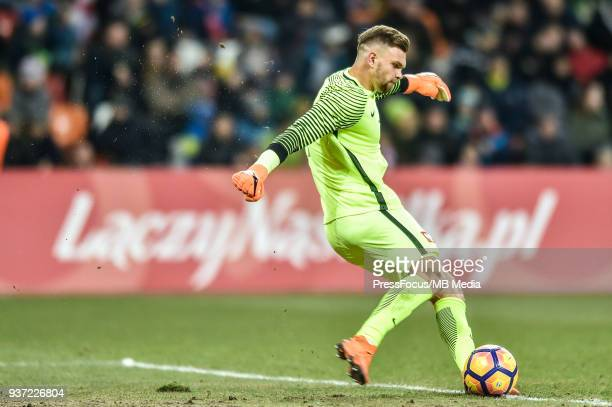 Bartlomiej Dragowski of Poland during the U20 Elite League match between Poland and England at the Municipal Stadium on March 22 2018 in BielskoBiala...