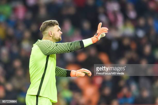 Bartlomiej Dragowski of Poland reacts during the U20 Elite League match between Poland and England at the Municipal Stadium on March 22 2018 in...