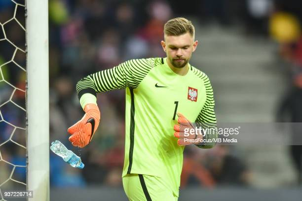 Bartlomiej Dragowski of Poland throws bottle of water during the U20 Elite League match between Poland and England at the Municipal Stadium on March...