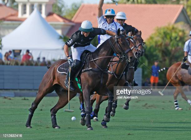 Barto Castagnola of Richard Mille brings the ball up field against Valiente during The Palm Beach Open on March 15 2020 at the Grand Champions Polo...