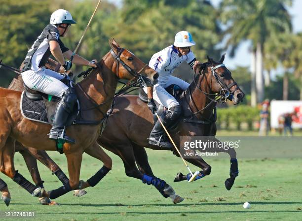 Barto Castagnola of Richard Mille defends against Adolfo Cambiaso of Valiente during The Palm Beach Open on March 15 2020 at the Grand Champions Polo...