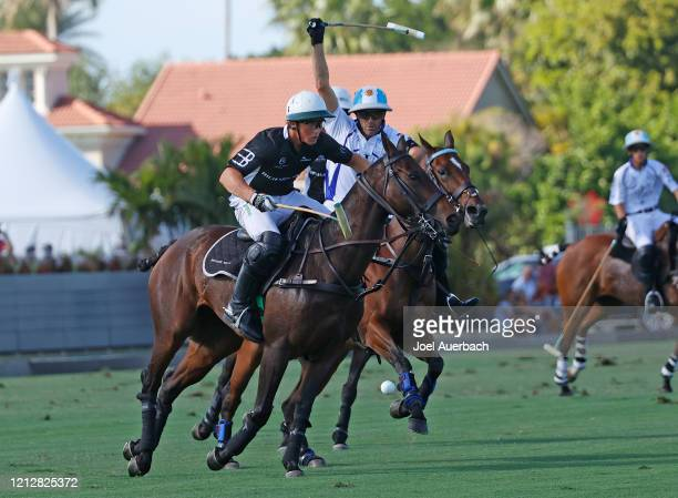 Barto Castagnola of Richard Mille plays the ball while being defended by Adolfo Cambiaso of Valiente during The Palm Beach Open on March 15 2020 at...
