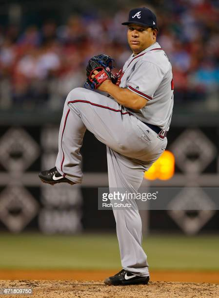 Bartolo Colon of the Atlanta Braves in action against the Philadelphia Phillies during a game at Citizens Bank Park on April 21 2017 in Philadelphia...