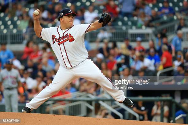 Bartolo Colon of the Atlanta Braves pitches during the first inning against the New York Mets at SunTrust Park on May 3 2017 in Atlanta Georgia