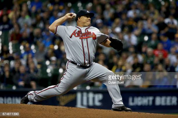 Bartolo Colon of the Atlanta Braves pitches in the first inning against the Milwaukee Brewers at Miller Park on April 28 2017 in Milwaukee Wisconsin
