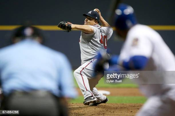 Bartolo Colon of the Atlanta Braves pitches in the fourth inning against the Milwaukee Brewers at Miller Park on April 28 2017 in Milwaukee Wisconsin