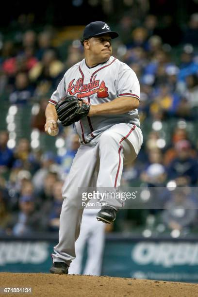 Bartolo Colon of the Atlanta Braves pitches in the second inning against the Milwaukee Brewers at Miller Park on April 28 2017 in Milwaukee Wisconsin