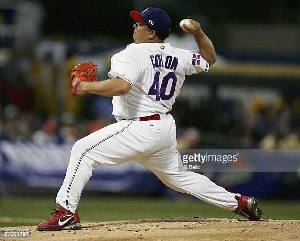Bartolo Colon of the Dominican Republic pitches against Puerto Rico during their game in the second round of the World Baseball Classic at Hiram...