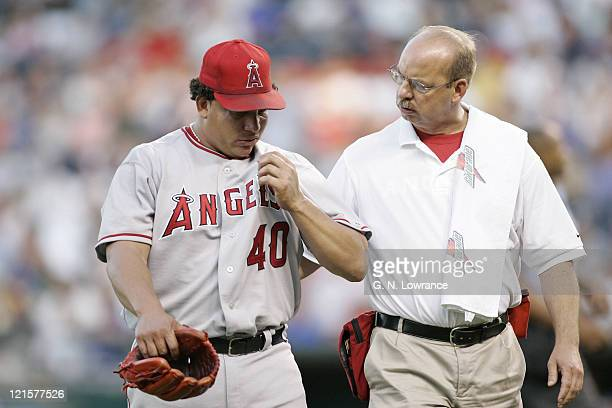 Bartolo Colon of the Los Angeles Angels of Anaheim leaves the game in the 8th inning after an injury during a game against the Kansas City Royals at...