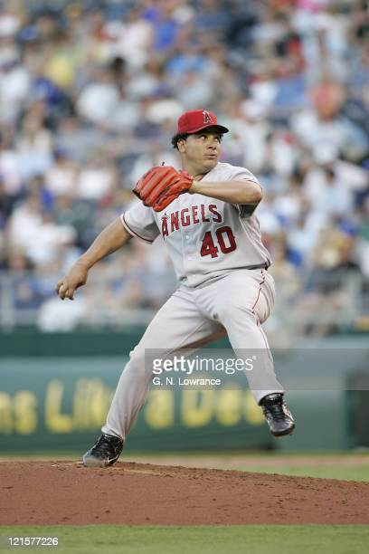 Bartolo Colon of the Los Angeles Angels of Anaheim raised his record to 114 during a win against the Kansas City Royals at Kauffman Stadium in Kansas...