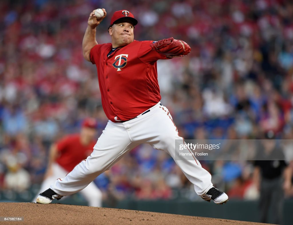 Bartolo Colon #40 of the Minnesota Twins delivers a pitch against the Toronto Blue Jays during the first inning of the game on September 15, 2017 at Target Field in Minneapolis, Minnesota.