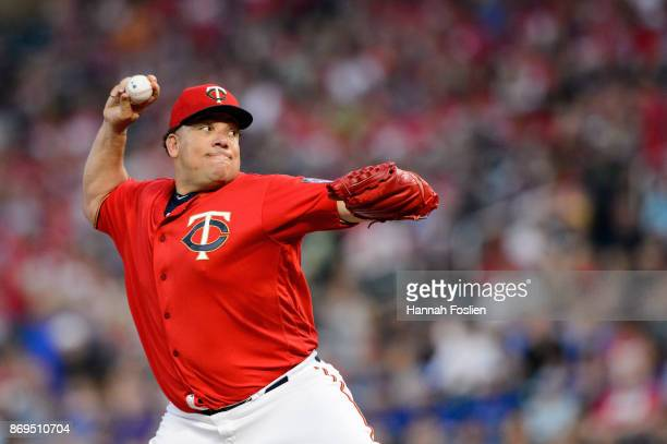 Bartolo Colon of the Minnesota Twins delivers a pitch against the Toronto Blue Jays during the game on September 15 2017 at Target Field in...