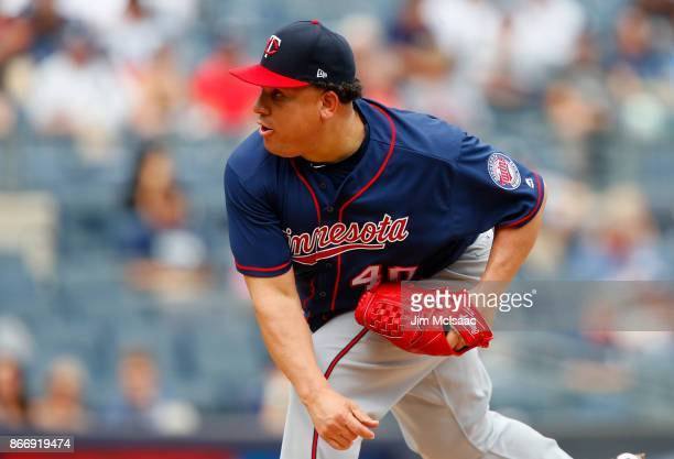 Bartolo Colon of the Minnesota Twins in action against the New York Yankees at Yankee Stadium on September 20 2017 in the Bronx borough of New York...