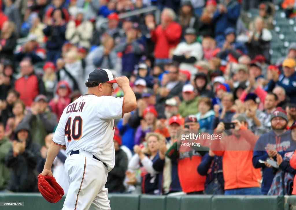 Bartolo Colon #40 of the Minnesota Twins is cheered by fans as leaves the game against the Detroit Tigers in the seventh inning during their baseball game on October 1, 2017, at Target Field in Minneapolis, Minnesota.