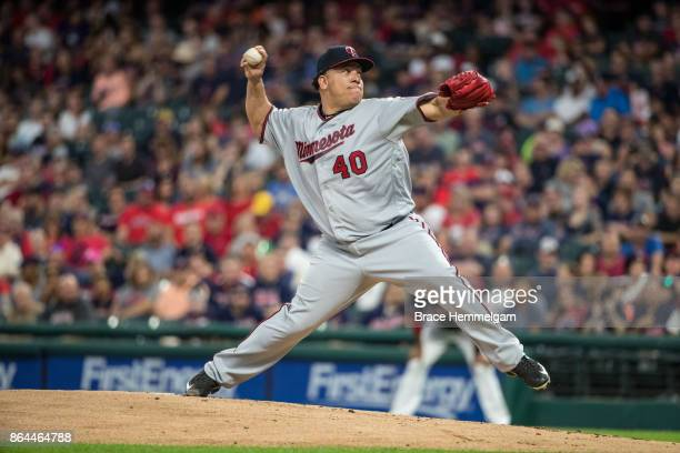 Bartolo Colon of the Minnesota Twins pitches against the Cleveland Indians on September 26 2017 at Progressive Field in Cleveland Ohio The Twins...