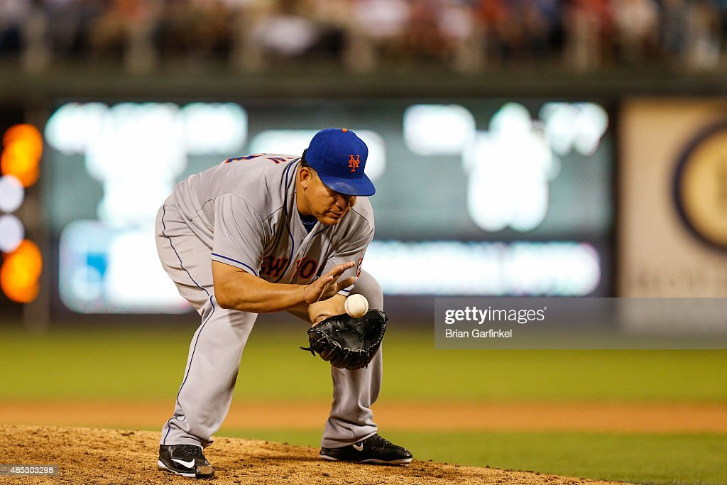 Bartolo Colon #40 of the New York Mets fields a ground ball off the bat of Jerad Eickhoff of the Philadelphia Phillies in the fifth inning of the game at Citizens Bank Park on August 26, 2015 in Philadelphia, Pennsylvania. The Mets won 9-4.