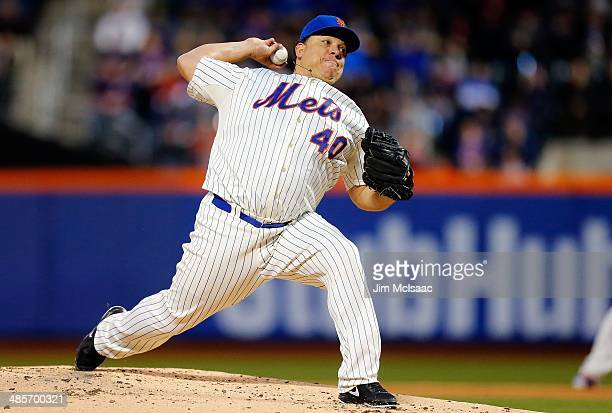 Bartolo Colon of the New York Mets in action against the Atlanta Braves at Citi Field on April 19 2014 in the Flushing neighborhood of the Queens...