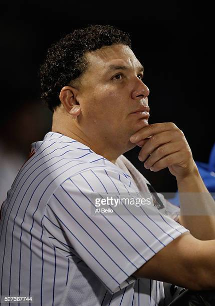 Bartolo Colon of the New York Mets looks on during the game against the Atlanta Braves during their game at Citi Field on May 2 2016 in New York City