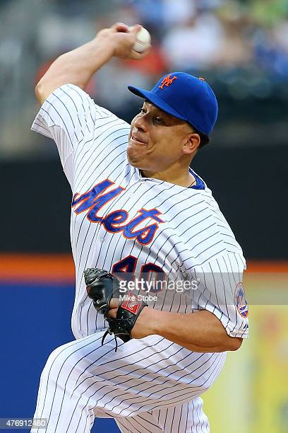 Bartolo Colon of the New York Mets pitches in the first inning against the Atlanta Braves at Citi Field on June 12 2015 in Flushing neighborhood of...
