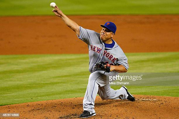Bartolo Colon of the New York Mets pitiches during a game against the Miami Marlins at Marlins Park on August 3 2015 in Miami Florida