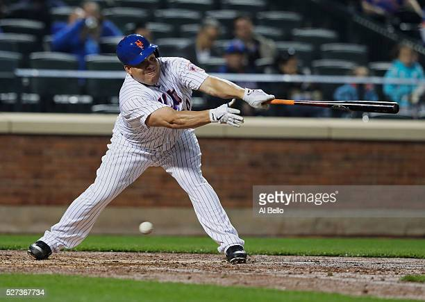 Bartolo Colon of the New York Mets strikes out against the Atlanta Braves during their game at Citi Field on May 2 2016 in New York City
