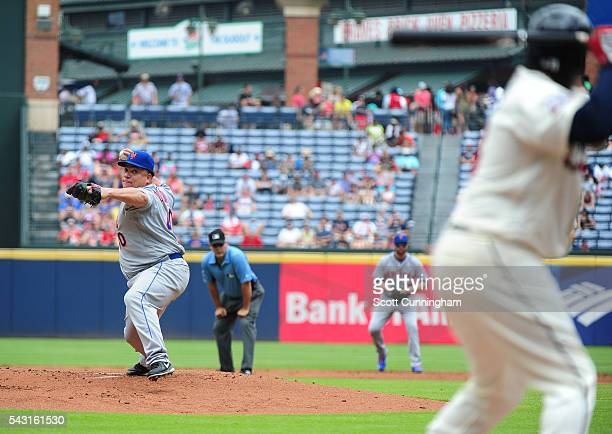 Bartolo Colon of the New York Mets throws a first inning pitch against Aramis Ramirez of the Atlanta Braves at Turner Field on June 26 2016 in...