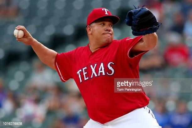 Bartolo Colon of the Texas Rangers pitches against the Arizona Diamondbacks in the top of the first inning at Globe Life Park in Arlington on August...