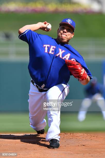 Bartolo Colon of the Texas Rangers pitches during the game between San Diego Padres and Texas Rangers at Surprise Stadium on March 1 2018 in Surprise...