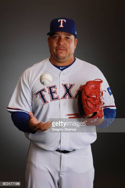 Bartolo Colon of the Texas Rangers poses during Texas Rangers Photo Day at the Surprise Stadium training facility on February 21 2018 in Surprise...