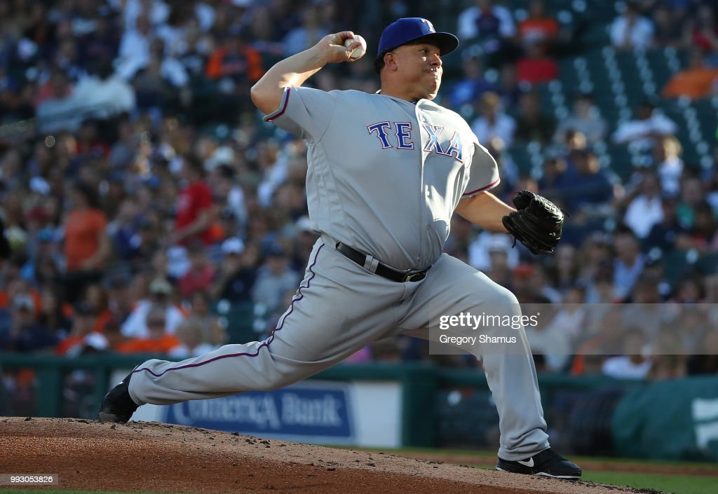 Bartolo Colon #40 of the Texas Rangers throws a first inning pitch while playing the Detroit Tigers at Comerica Park on July 6, 2018 in Detroit, Michigan.